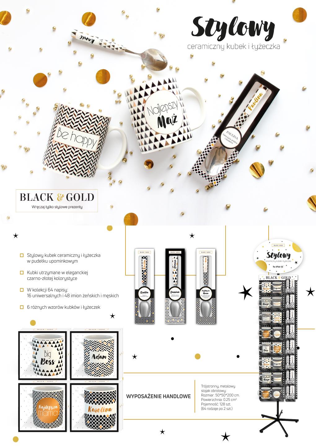 Stylowy ceramiczny kubek i łyżeczka Black&Gold