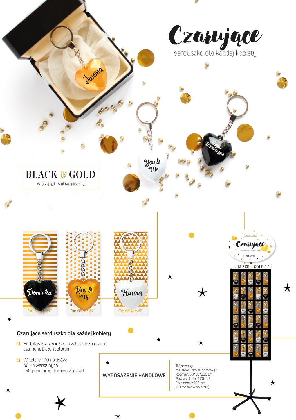 Brelok Serce Black&Gold